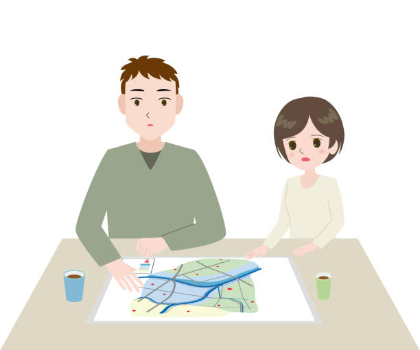 Illustration of a young man and woman looking at a hazard map at a table. vector art illustration