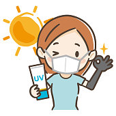 Illustration of a young woman against sunburn
