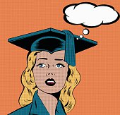 Illustration of a young woman in graduation gown in a pop art/comic style