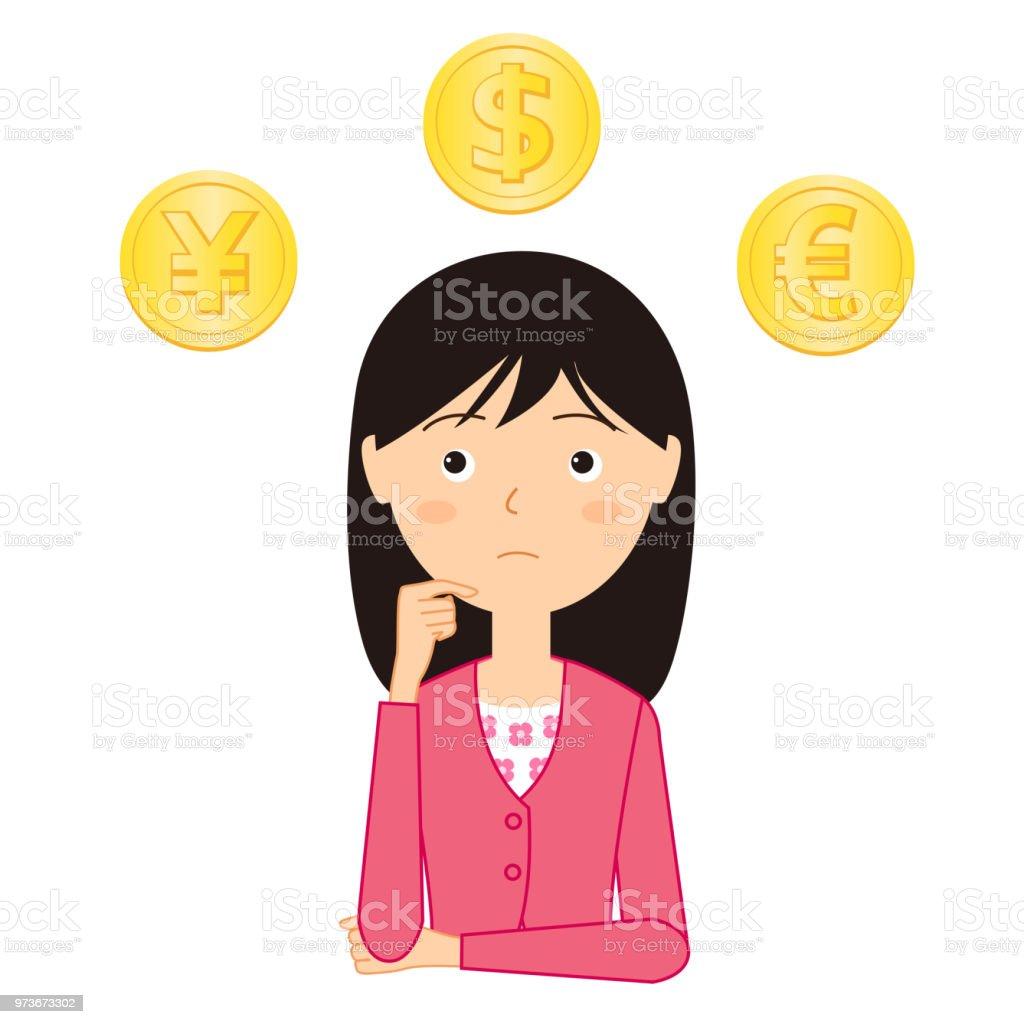 お金について考える若い女性のイラスト 1人のベクターアート素材や画像