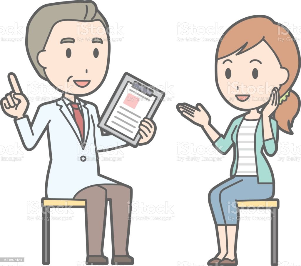 illustration of a young woman wearing jeans consulting a doctor