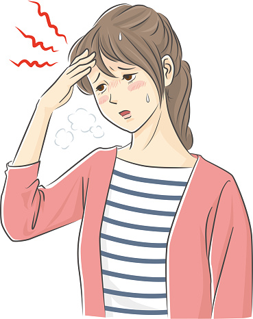 Illustration of a young woman with a fever and a headache