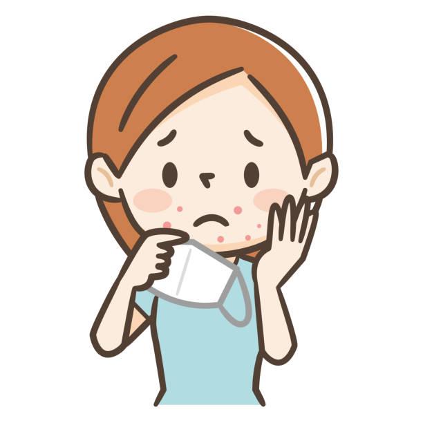 肌荒れのある若い女性のイラスト - マスク 日本人点のイラスト素材/クリップアート素材/マンガ素材/アイコン素材