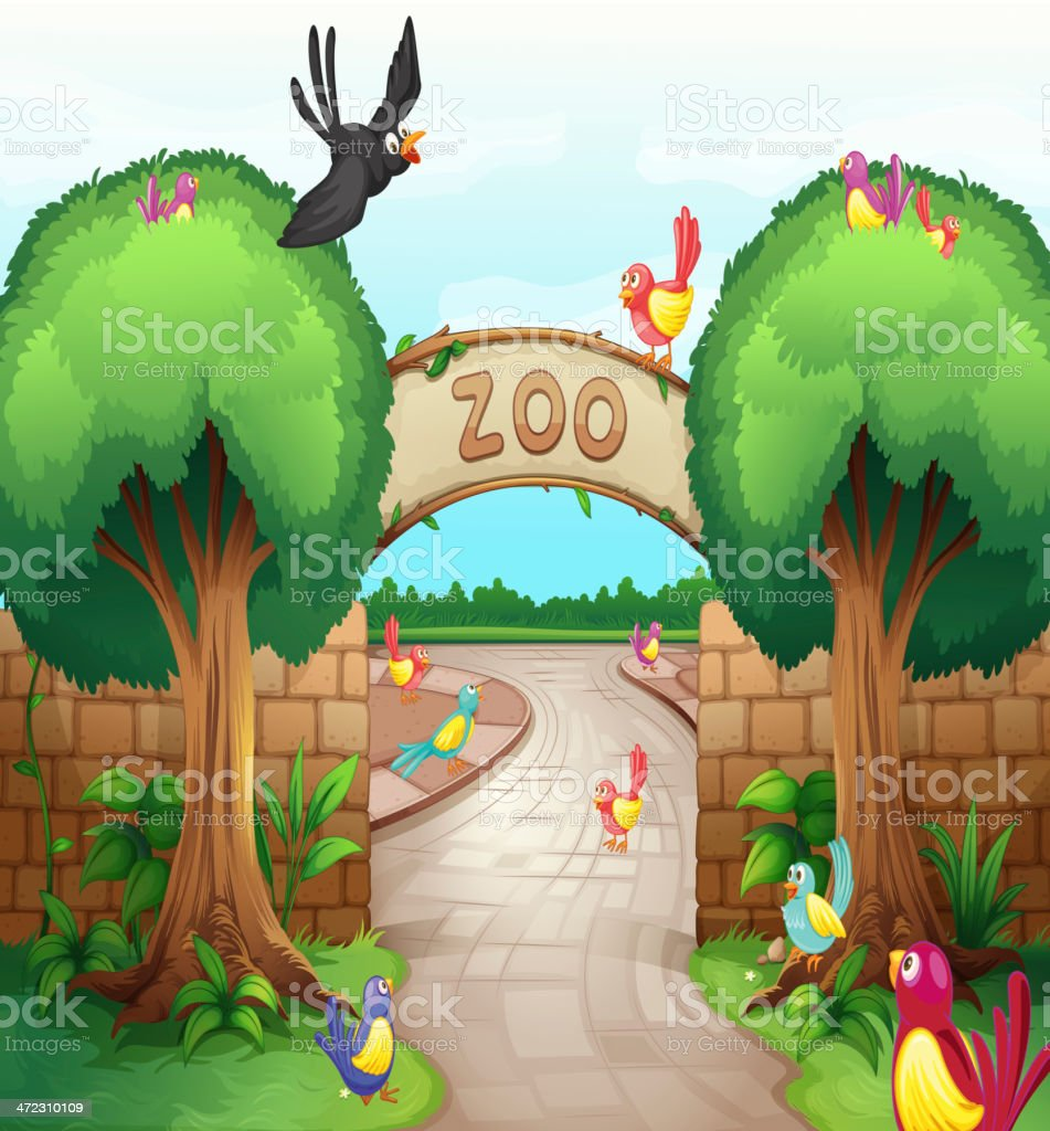 Illustration of a zoo entrance with birds vector art illustration