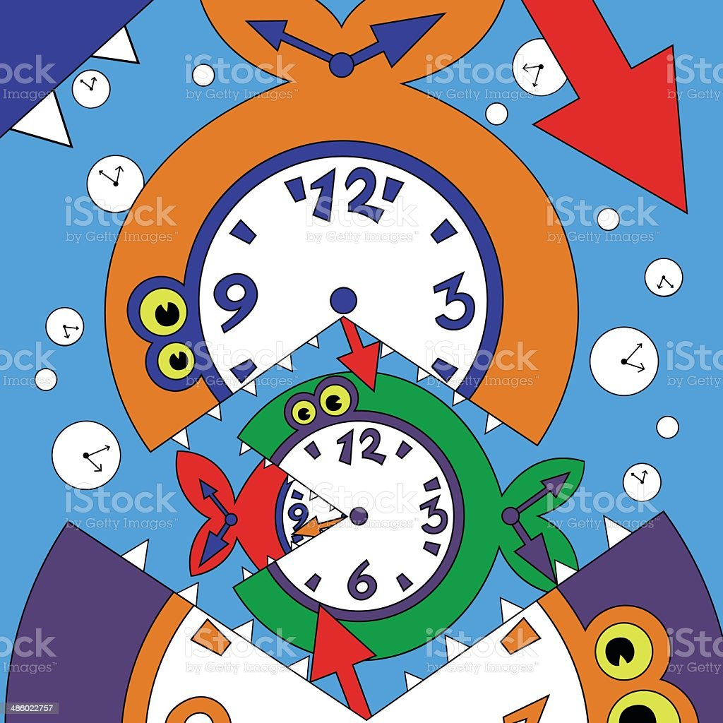 Illustration of abstract clock fish royalty-free stock vector art