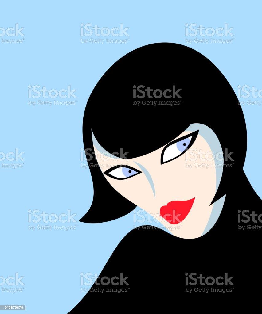 Illustration of abstract female face vector art illustration