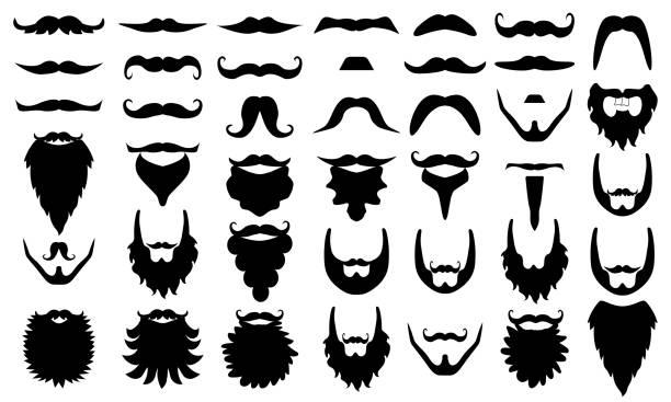 ilustrações, clipart, desenhos animados e ícones de ilustração do acessório como bigodes, adereços de cabine de foto. conjunto. - bigode