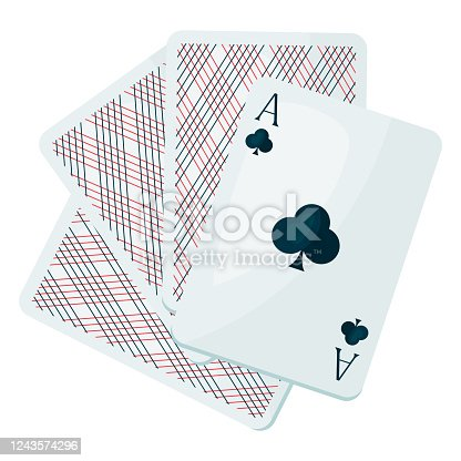 istock Illustration of ace club or clover playing cards. 1243574296
