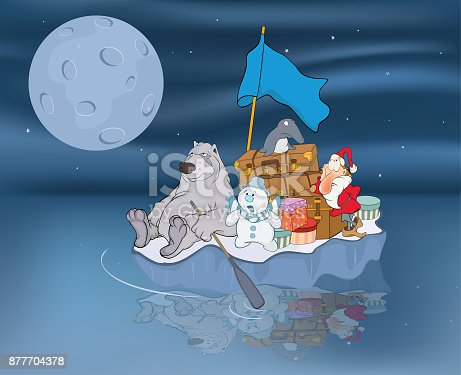 Santa Claus with friends float on an ice floe and carry gifts