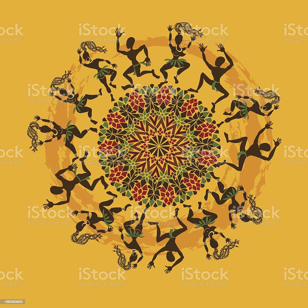 Illustration of African dancers vector art illustration