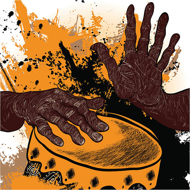 Illustration of African drummer's hands playing yellow drum vector art illustration