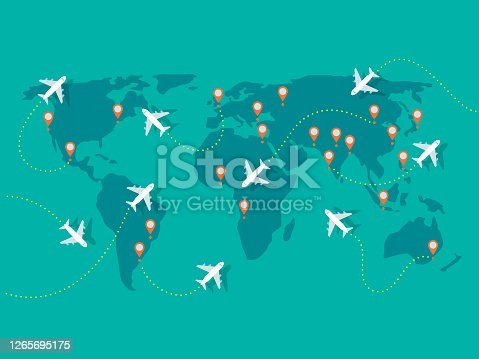 istock Illustration of airplane flights on world map 1265695175
