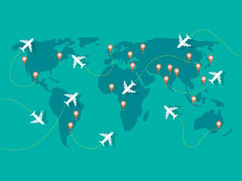 Illustration of airplane flights on world map
