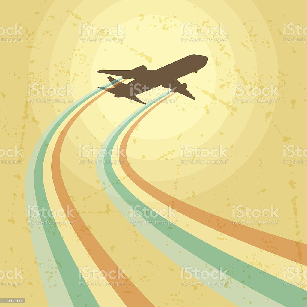 Illustration of airplane flying in the sky. vector art illustration