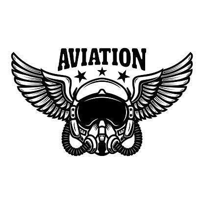 Illustration of airplane pilot helmet with wings. Design element for label, sign, emblem. Vector illustration