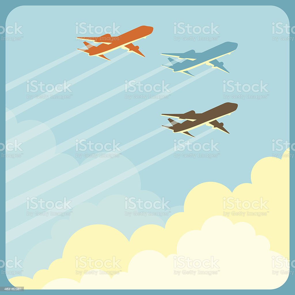 Illustration of airplanes flying in the sky over clouds. vector art illustration