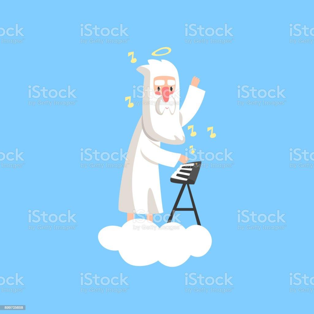 彼の頭とシンセサイザーの演奏以上のハロとふわふわの白い雲にひげを