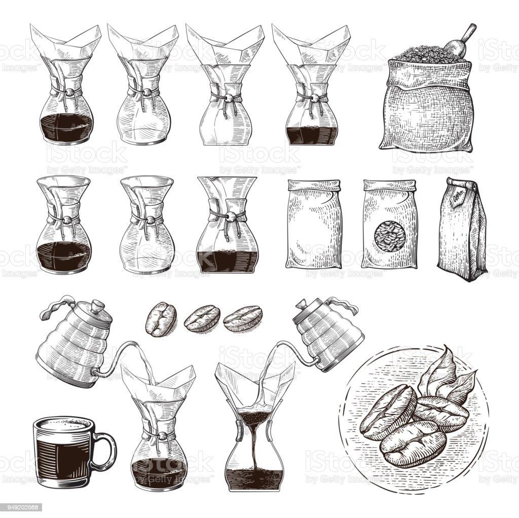 illustration du brassage alternative de chemex avec main schéma processus - Illustration vectorielle