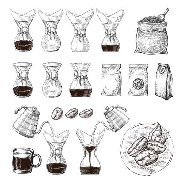 ilustraciones, imágenes clip art, dibujos animados e iconos de stock de ilustración de alternativas elaboración de chemex con empujar mano esquema proceso - barista