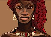 Illustration of an African woman in traditional garb