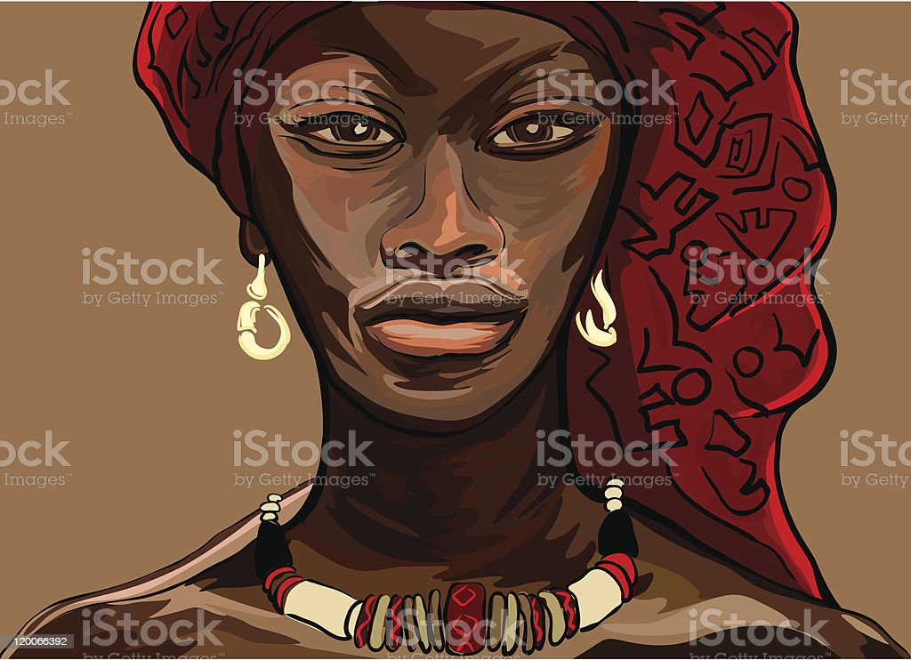 Illustration of an African woman in traditional garb vector art illustration