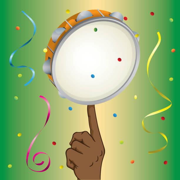 stockillustraties, clipart, cartoons en iconen met illustratie van een afrodescending persoon anderzijds een samba-tamboerijn balanceren. ideaal voor educatieve en institutionele educatief materiaal - tamboerijn