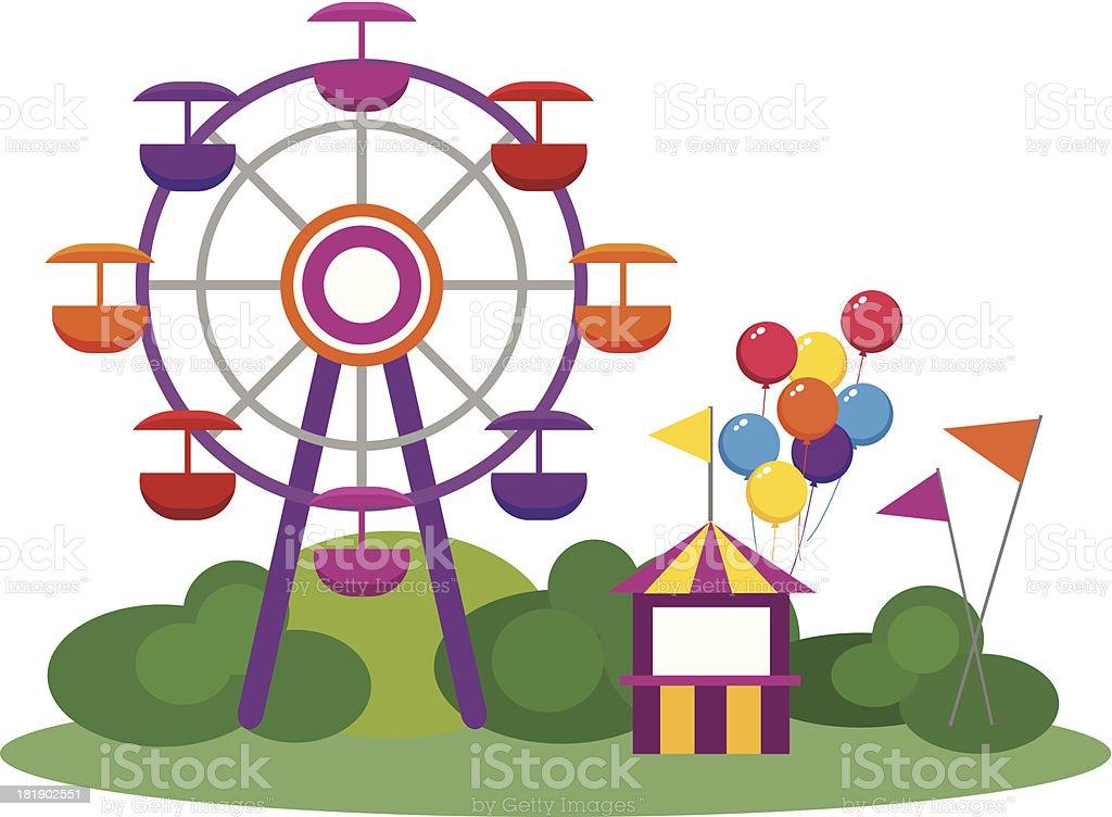 Illustration of an amusement park and Ferris wheel vector art illustration