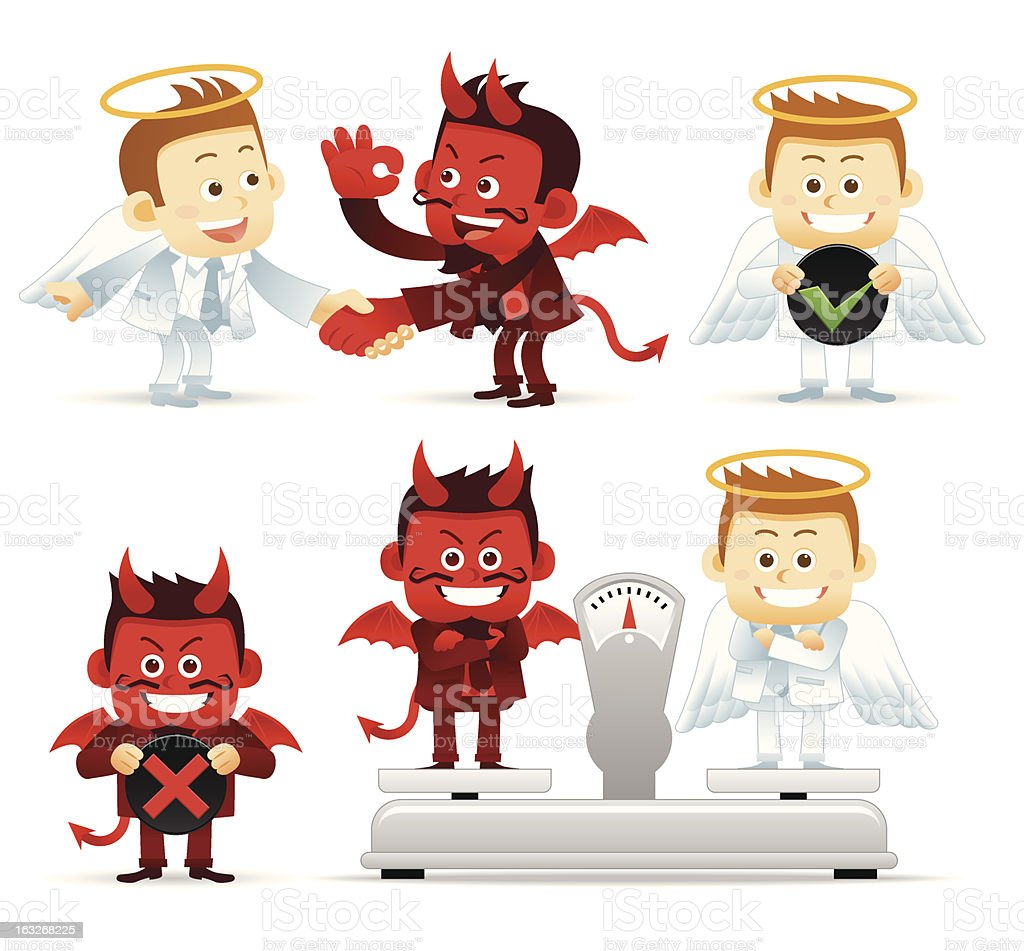 Illustration of an angel and devil with options weighed out royalty-free stock vector art