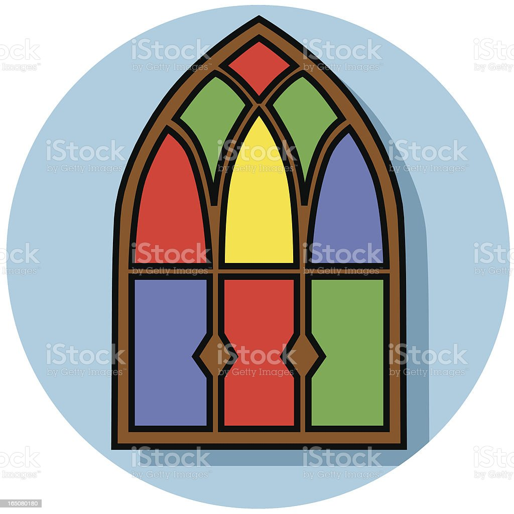Illustration of an arched stain glass window royalty-free stock vector art