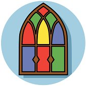 Illustration of an arched stain glass window