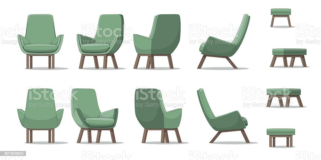Illustration of an armchair in different perspectives vector art illustration