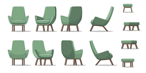 ilustrações de stock, clip art, desenhos animados e ícones de illustration of an armchair in different perspectives - chair