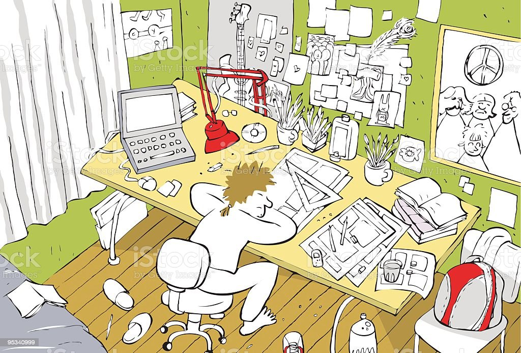 illustration of an artist's or student's room, workplace,office vector art illustration