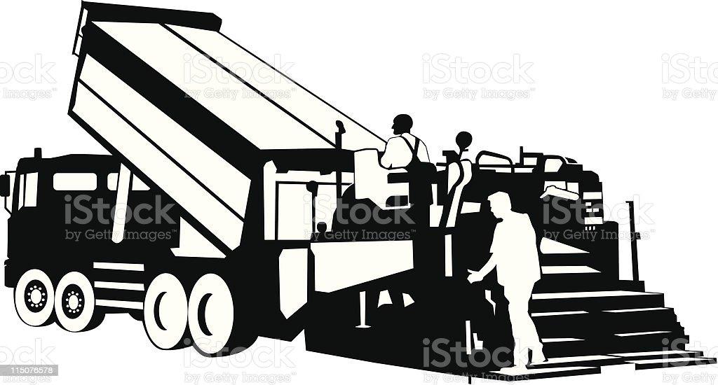 Illustration Of An Asphaltpaver Working On Road Stock