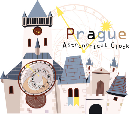 Illustration of an astronomical clock in Prague