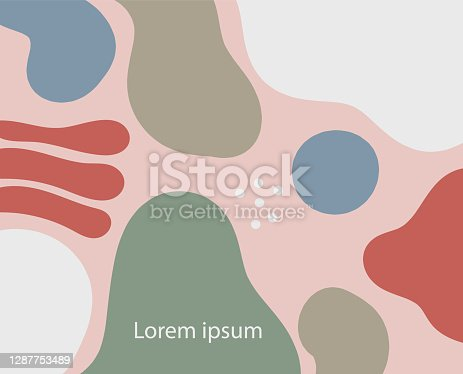 istock illustration of an background with circles. abstract pattern with shape. cute design wallpaper. copy space. pastel multi colour with freeform. 1287753489