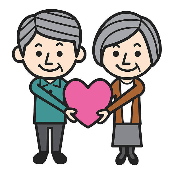 bildbanksillustrationer, clip art samt tecknat material och ikoner med illustration of an elderly couple holding a pink loveheart - middle aged man dating