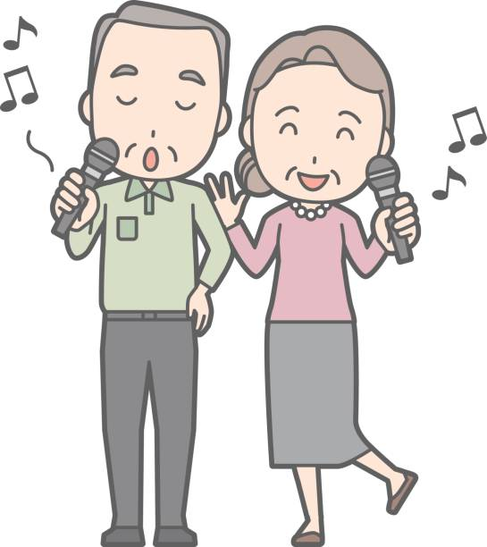 illustration of an elderly couple karaoke - old man smiling silhouettes stock illustrations, clip art, cartoons, & icons