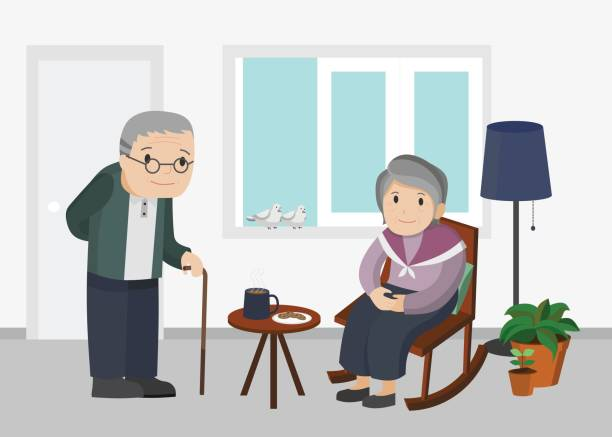 illustration of an elderly man and woman in living room. - old man standing background stock illustrations, clip art, cartoons, & icons