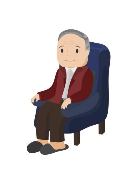 illustration of an elderly man sitting on sofa. - old man slippers stock illustrations, clip art, cartoons, & icons