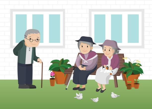 illustration of an elderly man standing and elderly women sitting on a bench outside a house. - old man sitting backgrounds stock illustrations, clip art, cartoons, & icons