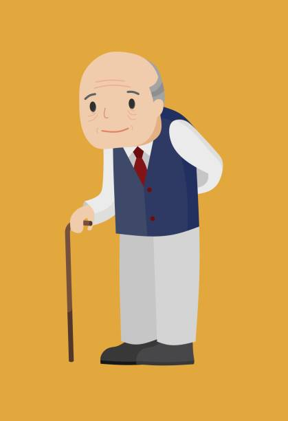 illustration of an elderly man with walking stick. - old man smiling backgrounds stock illustrations, clip art, cartoons, & icons