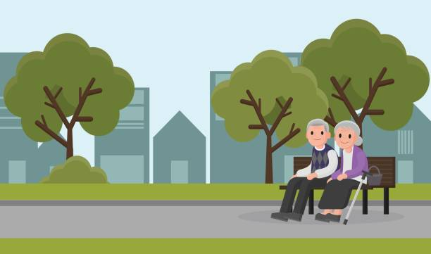 illustration of an elderly woman and man sit on a bench at park. - old man sitting backgrounds stock illustrations, clip art, cartoons, & icons