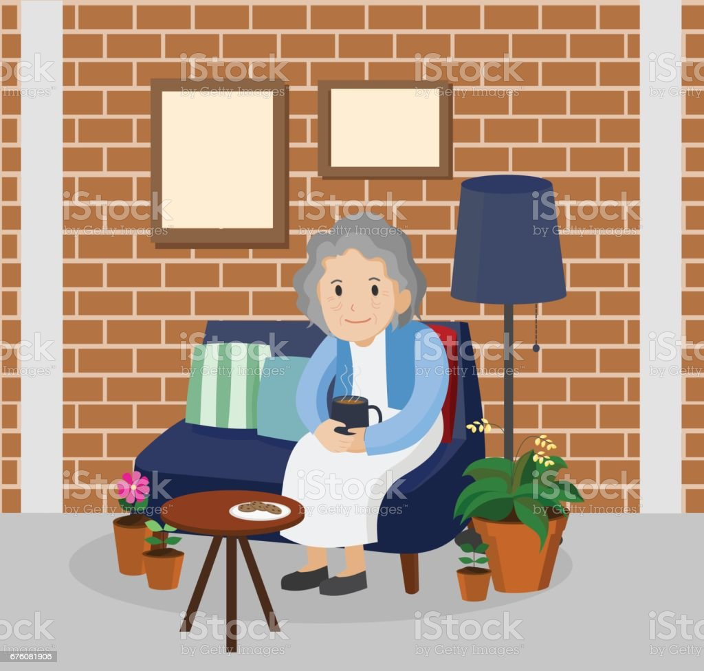 Illustration of an elderly woman in living room. vector art illustration
