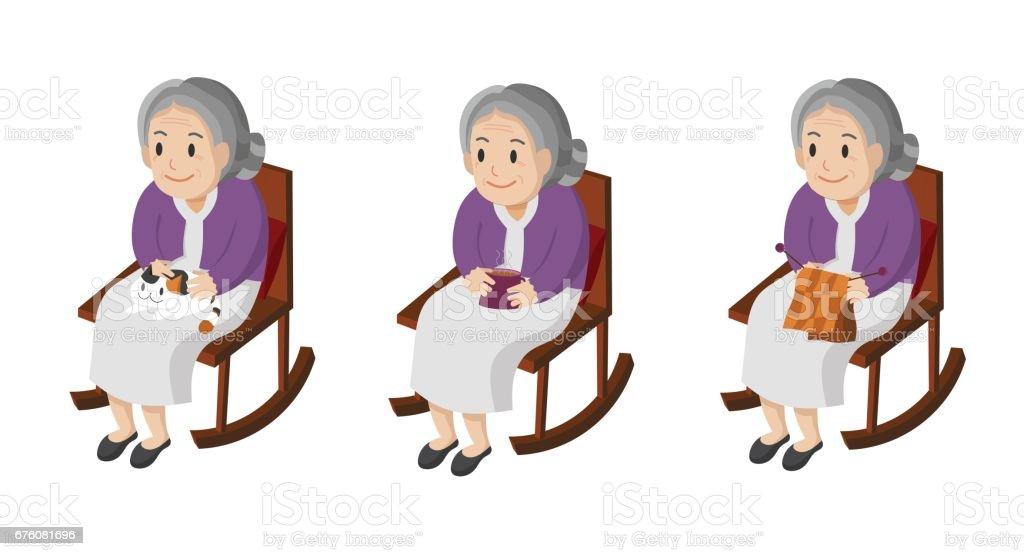 Ilustración de una mujer mayor sentada en su mecedora. - ilustración de arte vectorial