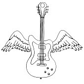 Illustration of an electric guitar with wings. Music design. Hand drawn image.