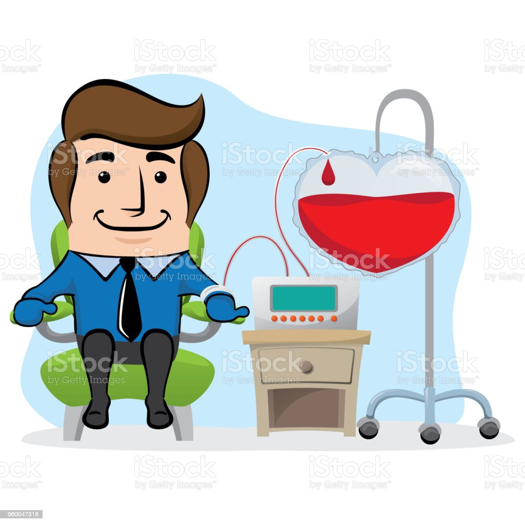 Illustration of an executive office mascot, donating blood. Ideal for awareness raising and encouragement of blood donation vector art illustration