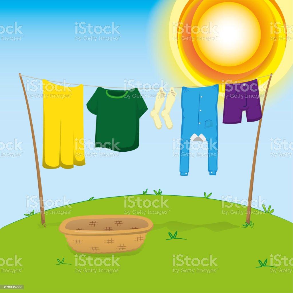 外部環境では広げて乾燥させる服を洗濯物のイラストカタログ情報機関の
