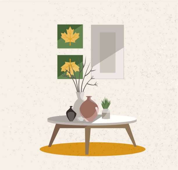 ilustrações de stock, clip art, desenhos animados e ícones de illustration of an interior group. a table on legs with a clay vases, indoor plants and posters on the wall. beige wall with rough texture. flat cartoon style vector illustration. - coffee table