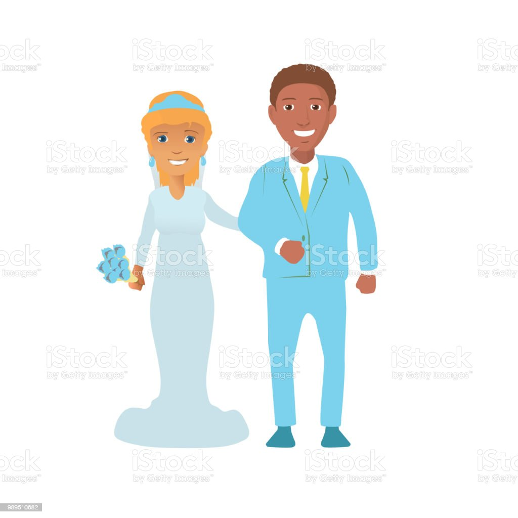 Illustration of an Interracial Couple Having Their Portrait Taken vector art illustration